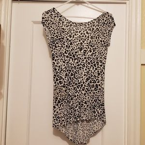 White leopard print top, size S